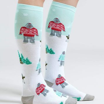 The Yeti Family Holiday Women's Knee Socks by Sock It To Me