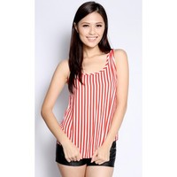 Stripes Sleeveless Top in Red and White - Tops - Women | FashionValet