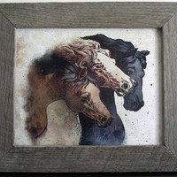 "Framed Art Work - Vintage Horses in Handcrafted Frame - Natural Unfinished Grey Barn wood Frame 13"" x 11"""