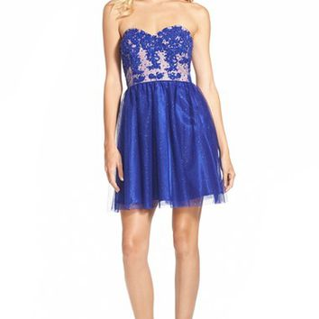 Junior Women's Jump Apparel Strapless Lace Bodice Skater Dress,