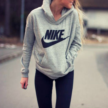 "Gray ""NIKE"" Hoodies Top Sweater Pullover Sweatshirt"