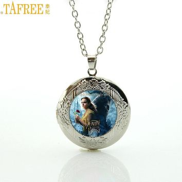 TAFREE Brand men women trendy beauty and the beast locket pendant movie princess charms statement necklace jewelry 2017 New CT12