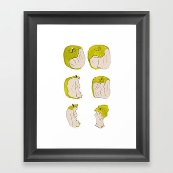Eating process (Apple) // watercolor apple consumption Framed Art Print by Camila Quintana S