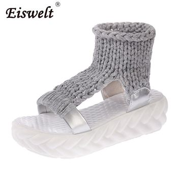 Eiswelt Spring Female Shoes Women Casual Sandals Summer Thick-bottomed Knitting Shoes Sandal Gladiator Bottom Rome Women Sandals