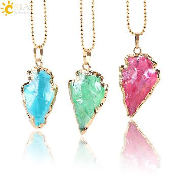 CSJA Raw Natural Arrowhead Crystal Quartz Pendant Red Blue Green Gem Stone Gold Color Necklaces Statement Healing Jewellery E634