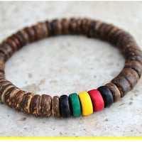 Rasta Bracelet, Red Yellow Green Rastafarian Colors, Rasta Jewelry Rastafari Natural Bracelet, Jamaican Jewelry, Reggae Bracelet, Rasta Gift