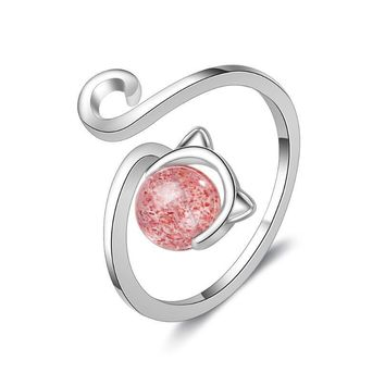 Red Stone Silver Cat Ring