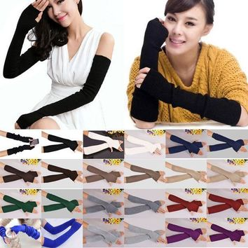 ESBET7 40cm Spring Winter Women Ladies Girl Long Cashmere Blend Fingerless Gloves Arm Sleeve Warmers Mittens Arm Warmers