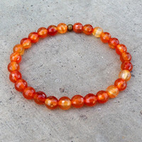 Creativity, Second Chakra Genuine Carnelian Gemstone Mala Bracelet