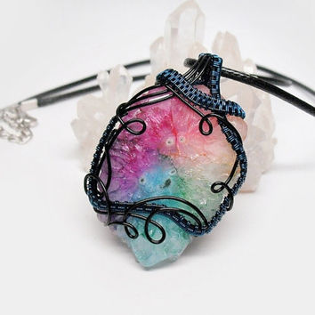 OOAK Wire wrapped Solar Quartz necklace, multicolor quartz pendant, dyed stalactite slice wire wrap, unique necklace for women