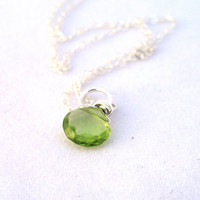 Peridot necklace, August birthstone necklace,  lime green peridot gemstone, sterling silver