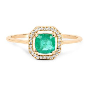 A Perfect 14K Yellow gold .68CT Cushion Cut Zambian Green Emerald Diamond Halo Engagement Ring