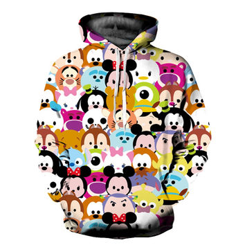 Men Women 3D Cats Mouse Printed Big Pocket Pullover Sweatshirt Couple Matching Hip Hop Hooded Harajuku Weed Hoodie Casual Coat