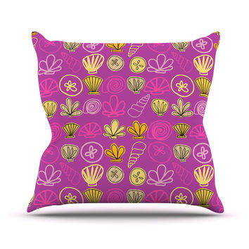 "Jane Smith ""Under the Sea Mermaid"" Pink Gold Throw Pillow"