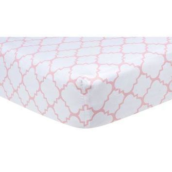 Pink Sky Quatrefoil Fitted Crib Sheet