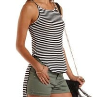 Black Combo Striped High-Low Tank Top by Charlotte Russe