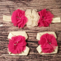 Baby Girl Headband and Barefoot Sandal Set! Dark Pink Chiffon and Cream Set. /Newborn / Infant / Girls / Toddler/ Bows / Baby Piggies