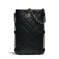 Clutch with Chain, lambskin & gold-tone metal, black - CHANEL