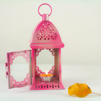 Unique Vintage Scheherazade Exotic Lantern/ Moroccan Decor/ Filigree Fuchsia Pink Metal Candle Holder/ Wedding and Home Decoration