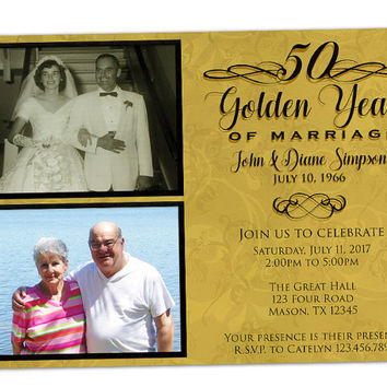 50th Anniversary Invite - Golden Anniversary Invitation - 50th Wedding Anniversary Invitations - Gold Anniversary Party Invitation - Photo