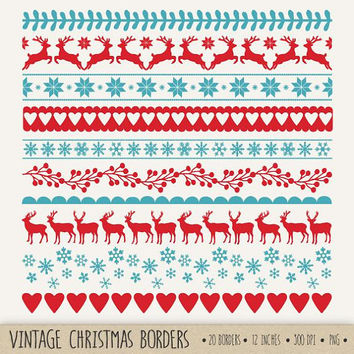 80% OFF SALE. Christmas Borders Clip Art. Red, Blue Digital Ribbon Clipart. Nordic Snowflake Text Dividers. Vintage X-mas, Reindeer Clip Art