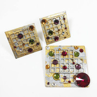 Abstract Square Rhinestone Jewelry Set, Gold and Silver Lattice Design Pin, Modern Art Clip On Earrings