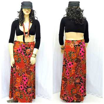 Vintage 60s maxi skirt / size L 14 / 16 / 1960s paisley floral long hippie skirt / boho retro woven cotton festival skirt