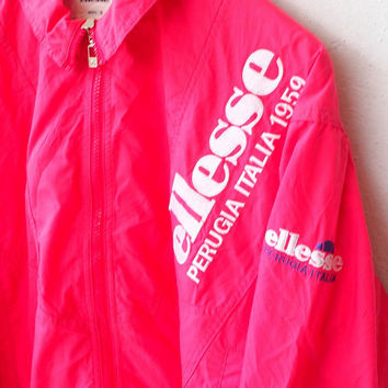 ON SALE 25% ELLESSE Sport Vintage 90's Streetwear Sports Windbreaker Big Logo Pink Nylon Trainer Jacket Size S