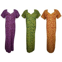 Mogul Womens Maxi Caftan Cotton Printed Purple Green Red Nightgown Button Front Short Sleeves Nightwear Long Caftan Dress L Lot Of 3 - Walmart.com