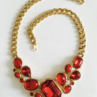 "Signed,  Collectible Trifari Gold Toned Chain - faux faceted  ""Red Glass"" and Cabochon Bib, Statement Necklace, Fabulous 1970s Trifari,"