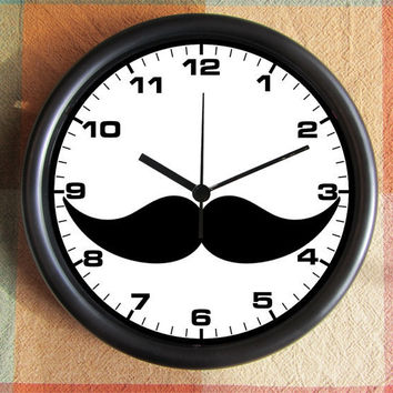 MOUSTACHE Craze 10 inch Resin Wall Clock Under by Backstreetcrafts