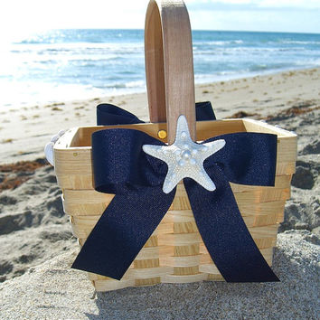 Beach Wedding Flower Girl Basket-NAVY NAUTICAL- Summer Wedding, Nautical Wedding, Flower Girl Basket, Mermaids, Beach Home Decor, Navy Blue