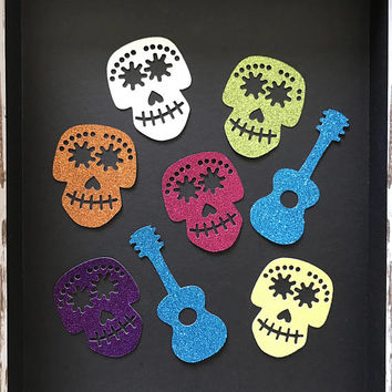 12 pcs Coco Disney - Halloween - Glitter Die Cut/Party Decoration /Embellishment/Table Scatter/Cupcake Topper - Skulls and guitars