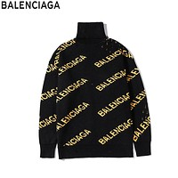 Balenciaga 2019 new full printed jacquard logo turtleneck sweater