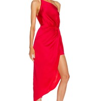 Red Satin One Shoulder Asymmetrical  Cocktail Dress