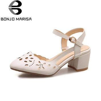 BONJOMARISA Women's 2018 Cutout Chunky Heel Sandals Brand Design Amkle Strap Buckle Up Summer Shoes Big Size 32-46