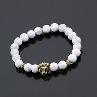 Lion Head Bracelet - White Marble