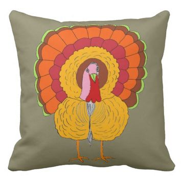 Tom Turkey on Throw Pillow