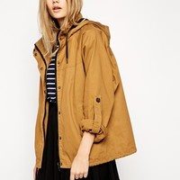 ASOS Jacket with Batwing Sleeve in Washed Cotton
