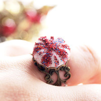 Peppermint Swirl Candy Ring ,Christmas Adjustable Ring