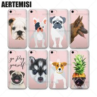Aertemisi Phone Cases Cute Dogs Animals Transparent Crystal Clear Soft TPU Case Cover for iPhone 5 5s SE 6 6s 7 Plus