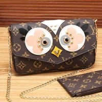One-nice™ LV Women Shopping Leather Satchel Shoulder Bag Crossbody Wallet Two piece Set