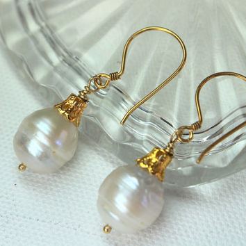 Freshwater Baroque Pearl Earrings, Christmas Earrings, Gold Pearl Drop Earrings, Pearl Christmas Ball Ornament, Holiday Earrings