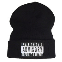 parental advisory explicit content beanie