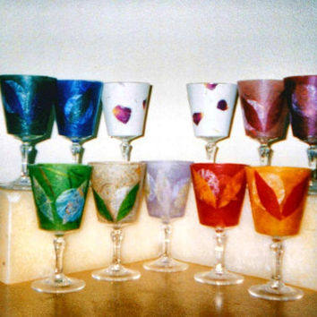 Wine Glass Candle Holder Made with Recycled Natural Papers MANY COLORS- Bridesmade Valentines Gift