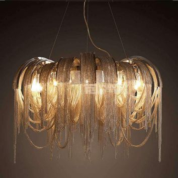 European LED Chain Tassels Ceiling Lamp Light Droplight Fixture Chandelier Hotel Bedroom Dining Reading Living Room Home Decor