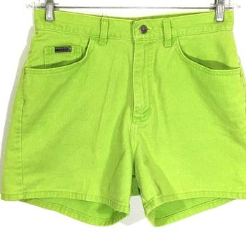 Lee Riveted Jeans Shorts Vintage Neon Green USA Union High Waist Womens 12 M - Preowned