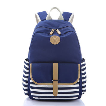 Hot Deal Comfort On Sale Casual College Back To School Stylish Fashion Stripes Canvas Bags Zippers Backpack [8384617223]