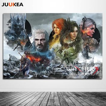 Canvas Art Print Painting Poster, Geralt-The Witcher 3 Hunting Wild Game Artistic Exclusive Design Wall Pictures for Boy's Room