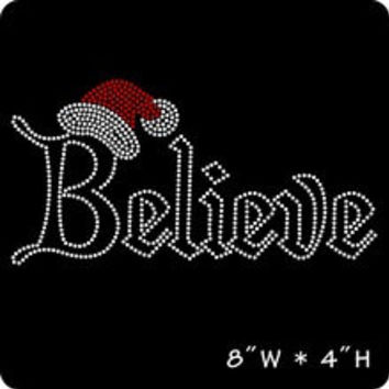 Christmas Believe with Santa Hat iron on Rhinestone transfer - hotfix iron on rhinestone - DIY motif - appliqué hot fix